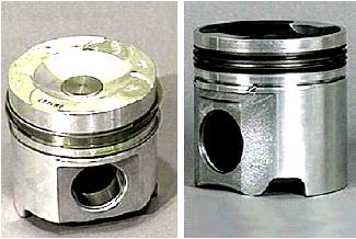 Pembentukan piston Two-pieces articulated, berupa gabungan forged steel crown dengan pin bore dan bushing dan cast aluminium skirt terpisah, digabung