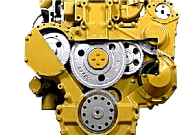 5. Oil pump gear 6. Water pump gear 7. Air compressor gear Gambar 3.174. Susunan terpasang gigi timing Gear train assembly (Gambar 3.