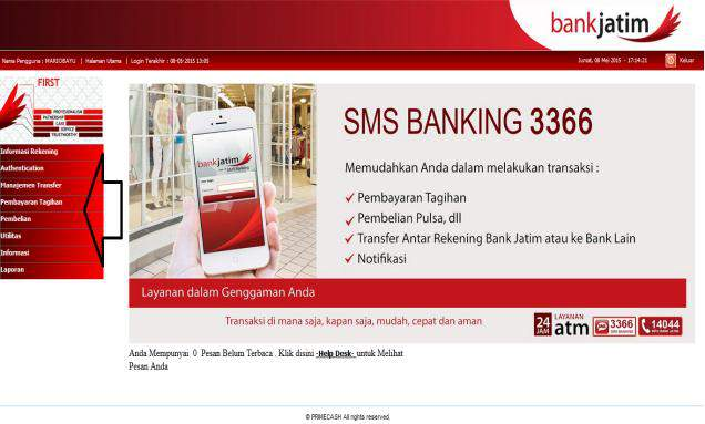 LOG IN INTERNET BANKING BANK JATIM MENU INTERNET BANKING BANK JATIM 1. Kunjungi Internet Banking Bank Jatim di alamat https://www.iperson.bankjatim.co.id 2. Input USER ID 3.