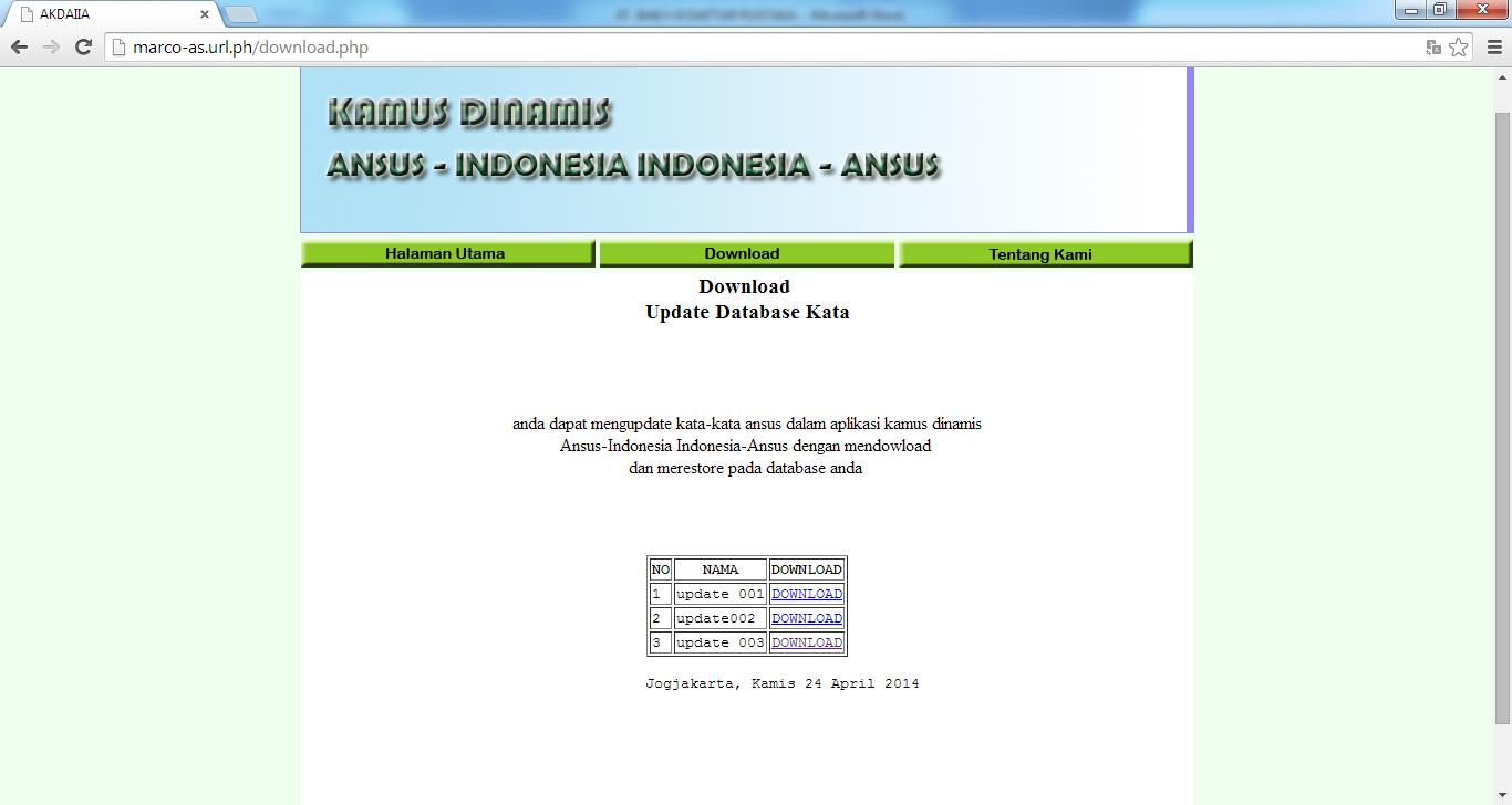 Gambar 5. 5. Antarmuka Web Download 5.1.2.6.