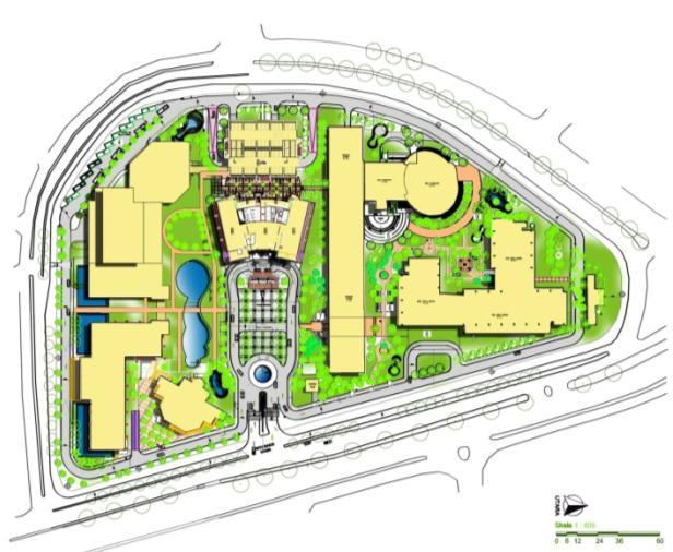 Green Campus development plan More greenery, walkways Green Site / Garden City concept: High density development More greenery (RTH)