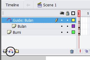 Pilih ikon Add Motion Guide pada jendela Timeline