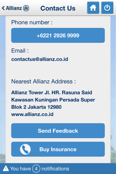 Aplikasi mempunyai fasilitas menerima / Application is enabled to receive: Melihat notifikasi yang dikirim oleh Allianz untuk pengguna / To view the notification sent by Allianz to user Pengguna