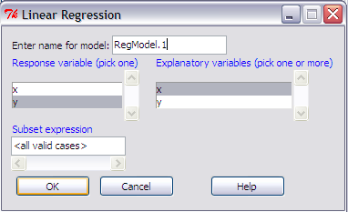 4. Akan muncul Linear Regression. Pada Response variable pilih y.