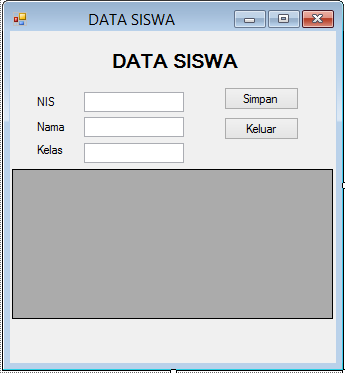 Program Database Sederhana Contoh : 1.