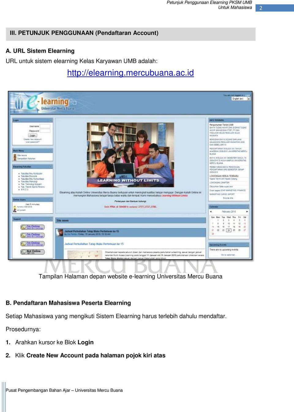 id Tampilan Halaman depan website e-learning Universitas Mercu Buana B.