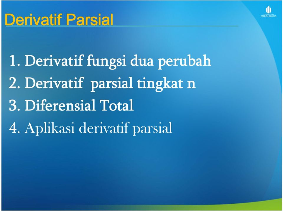Derivatif parsial tingkat n 3.