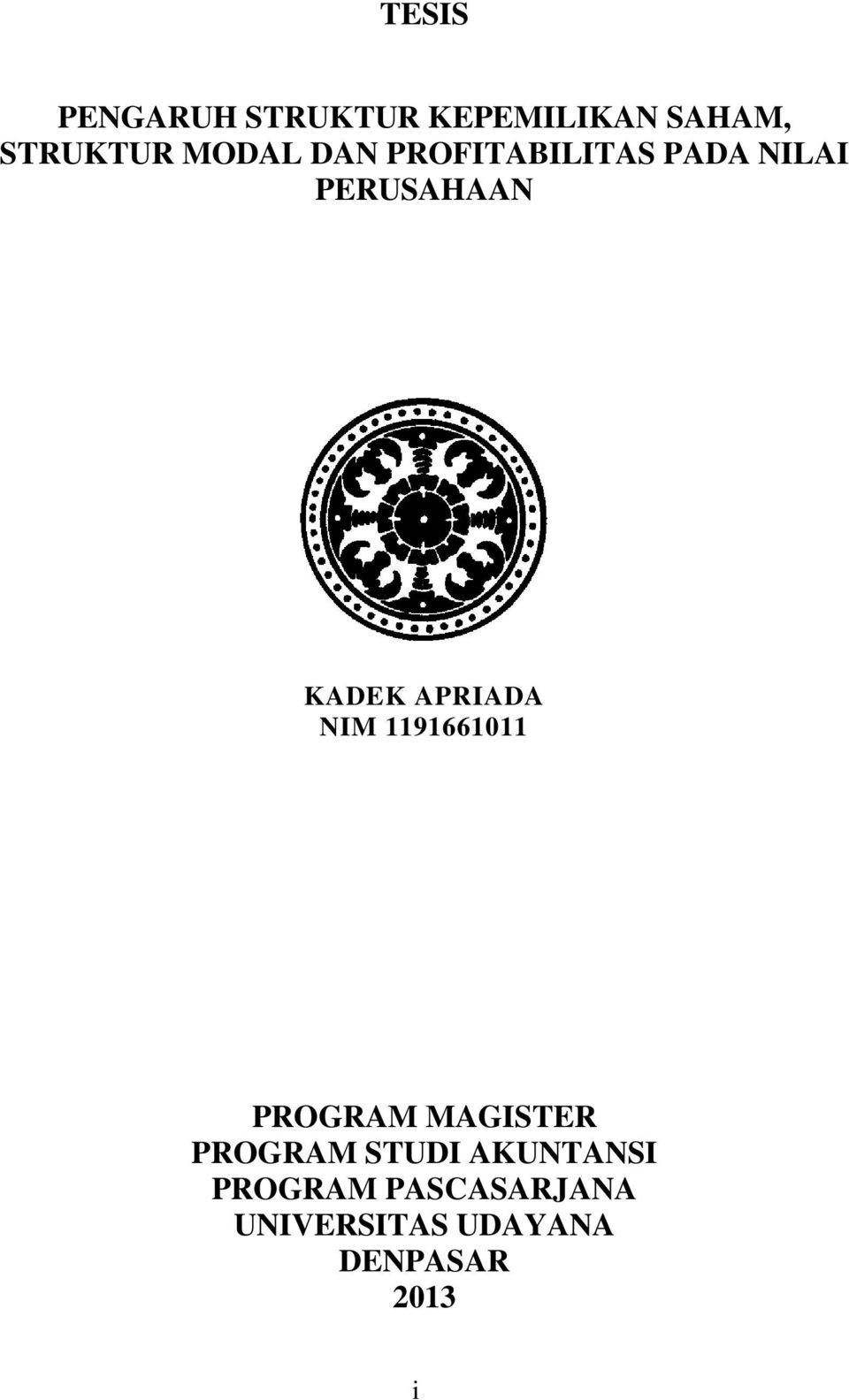 APRIADA NIM 1191661011 PROGRAM MAGISTER PROGRAM STUDI