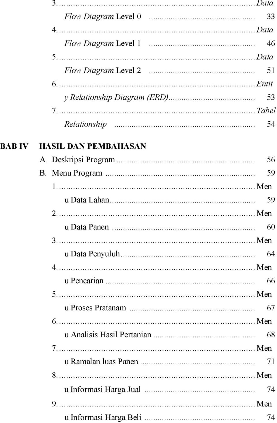 Menu Program... 59 1... Men u Data Lahan... 59 2... Men u Data Panen... 60 3... Men u Data Penyuluh... 64 4... Men u Pencarian... 66 5.