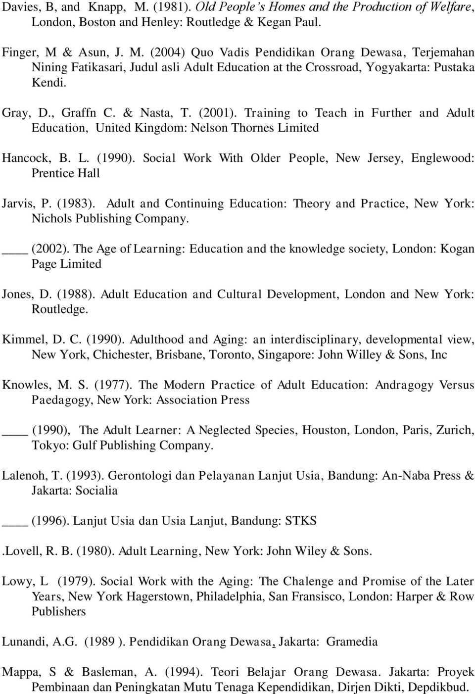 Social Work With Older People, New Jersey, Englewood: Prentice Hall Jarvis, P. (1983). Adult and Continuing Education: Theory and Practice, New York: Nichols Publishing Company. (2002).