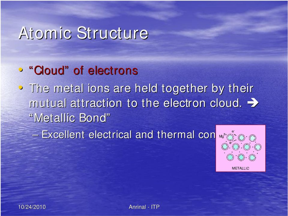 mutual attraction to the electron cloud.