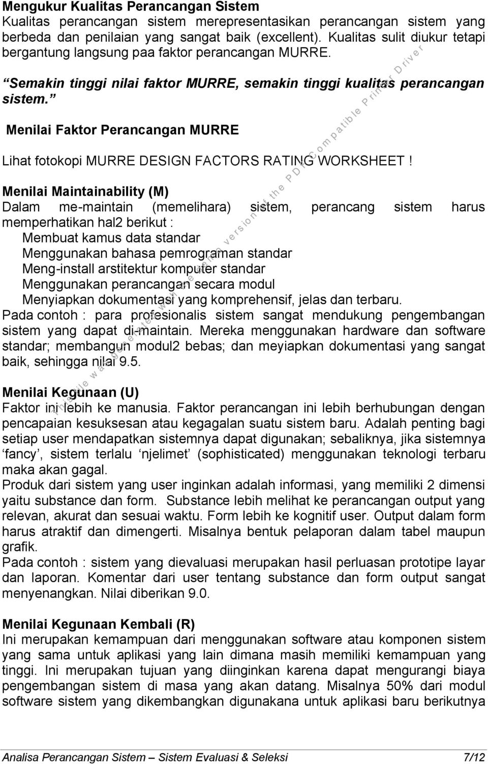 Menilai Faktor Perancangan MURRE Lihat fotokopi MURRE DESIGN FACTORS RATING WORKSHEET!