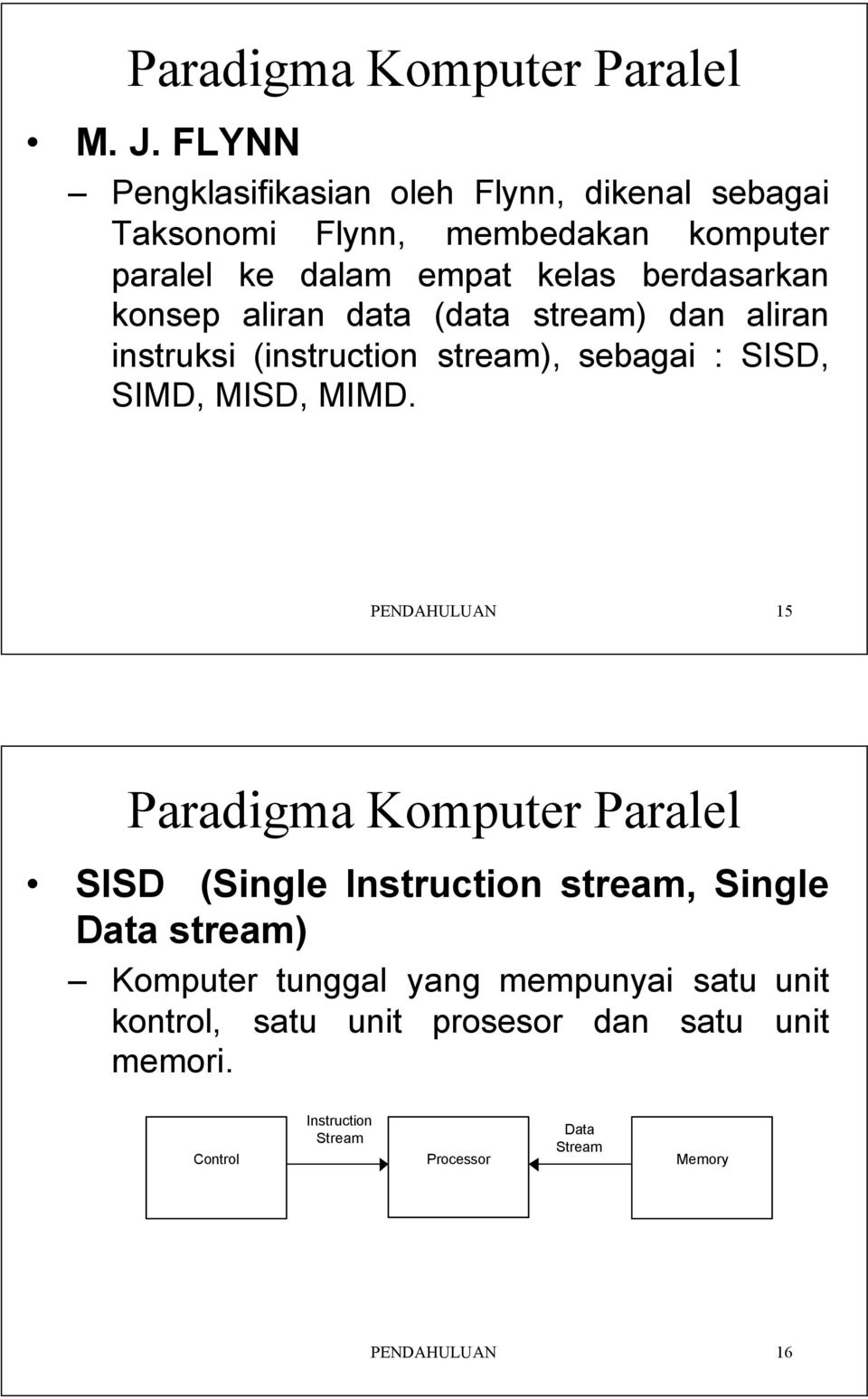 : SISD, SIMD, MISD, MIMD PENDAHULUAN 15 Paradigma Komputer Paralel SISD (Single Instruction stream, Single stream) Komputer