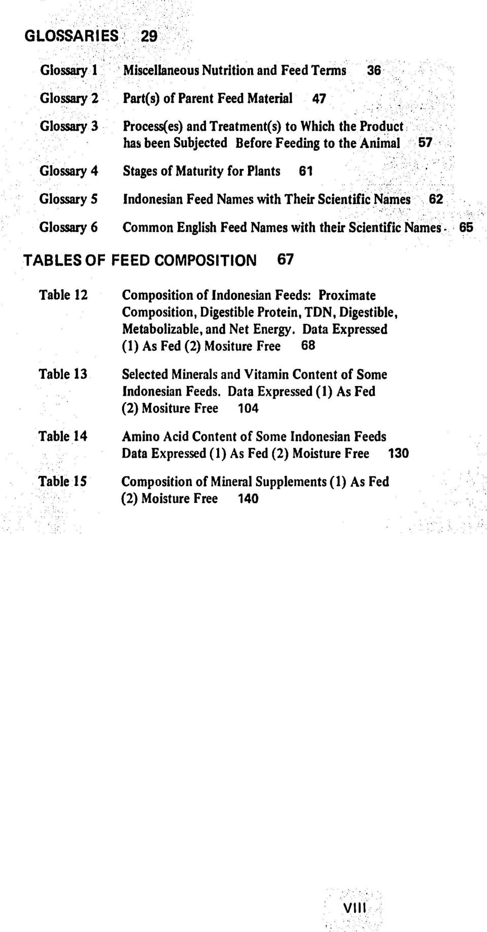 Names 65 57 TABLES OF FEED COMPOSITION 67 Table 12 Table 13 Table 14 Table 15 Composition of Indonesian Feeds: Proximate Composition, Digestible Protein, TDN, Digestible, Metabolizable, and Net