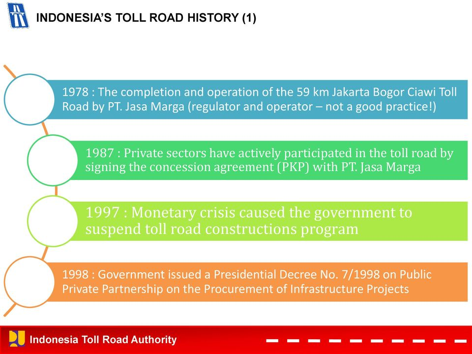 ) 1987 : Private sectors have actively participated in the toll road by signing the concession agreement (PKP) with PT.