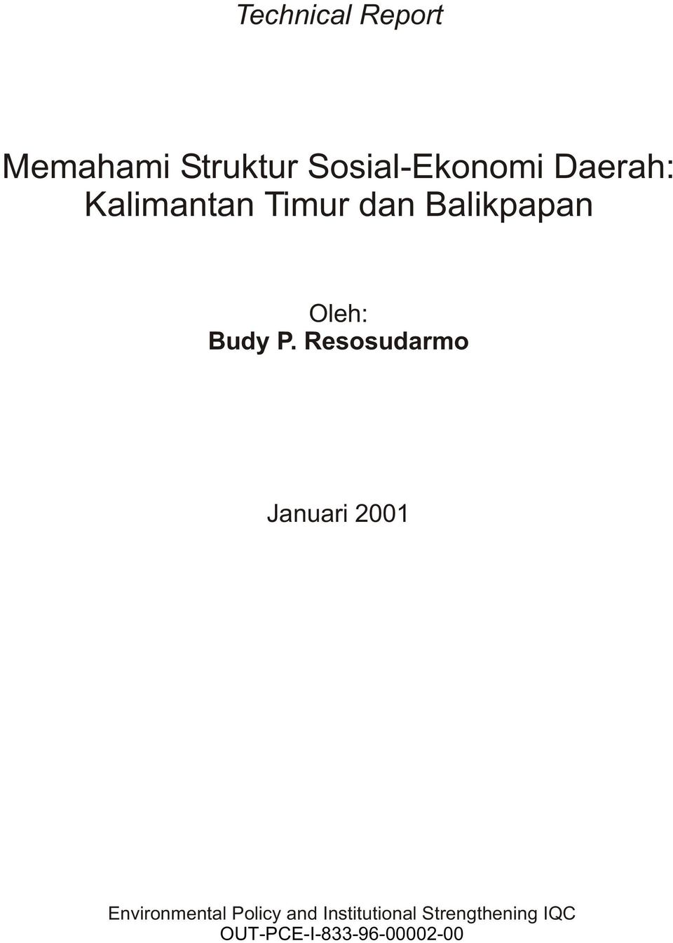 Resosudarmo Januari 2001 Environmental Policy and