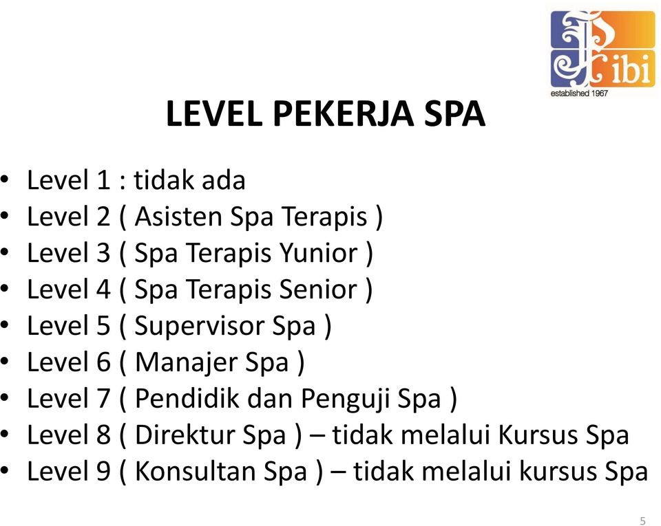 Level 6 ( Manajer Spa ) Level 7 ( Pendidik dan Penguji Spa ) Level 8 ( Direktur