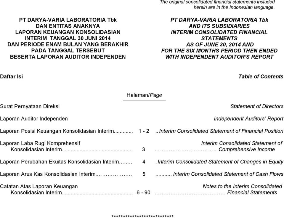 OF JUNE 30, 2014 AND FOR THE SIX MONTHS PERIOD THEN ENDED WITH INDEPENDENT AUDITOR S REPORT Daftar Isi Table of Contents Halaman/Page Surat Pernyataan Direksi Laporan Auditor Independen Statement of