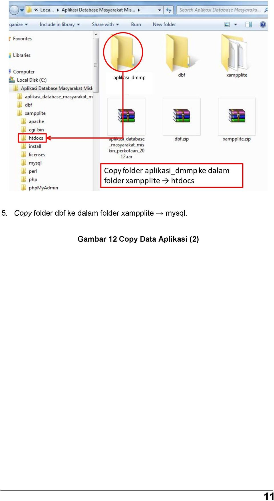 Copy folder dbf ke dalam folder