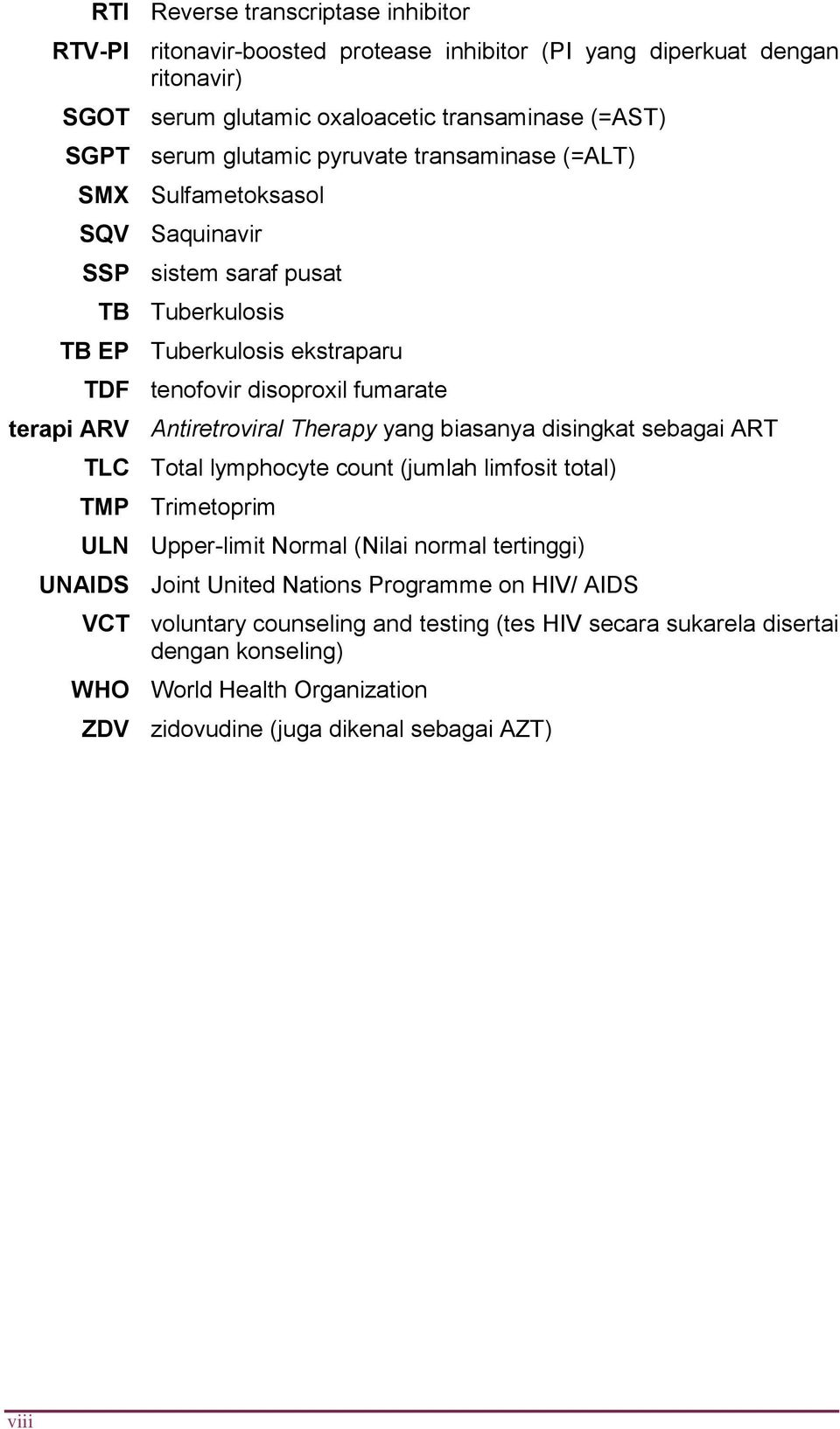 Antiretroviral Therapy yang biasanya disingkat sebagai ART TLC Total lymphocyte count (jumlah limfosit total) TMP Trimetoprim ULN Upper-limit Normal (Nilai normal tertinggi) UNAIDS Joint