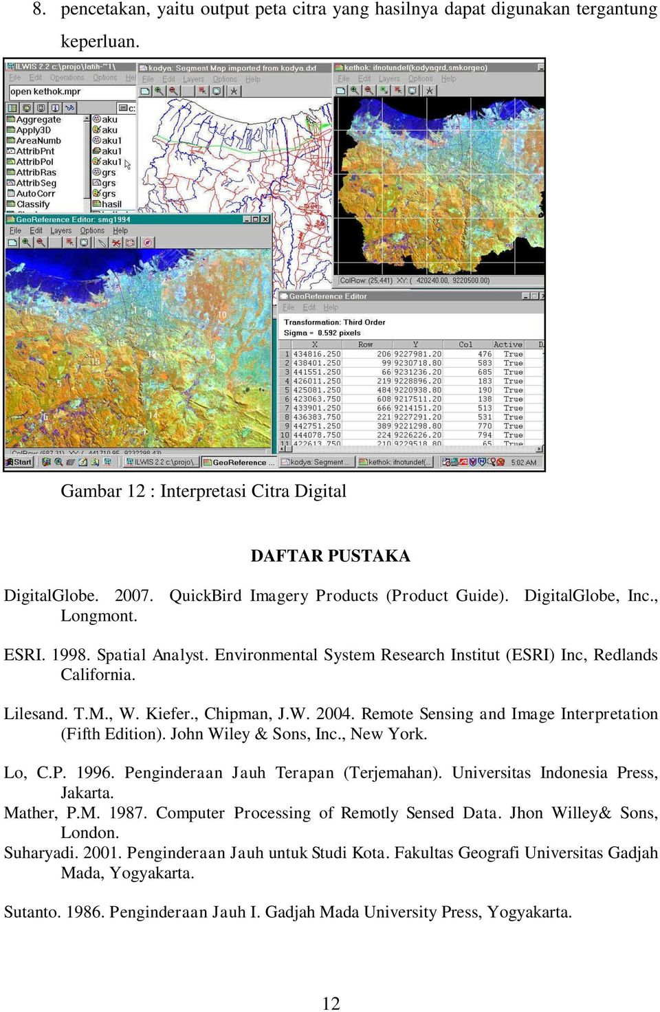 Kiefer., Chipman, J.W. 2004. Remote Sensing and Image Interpretation (Fifth Edition). John Wiley & Sons, Inc., New York. Lo, C.P. 1996. Penginderaan Jauh Terapan (Terjemahan).