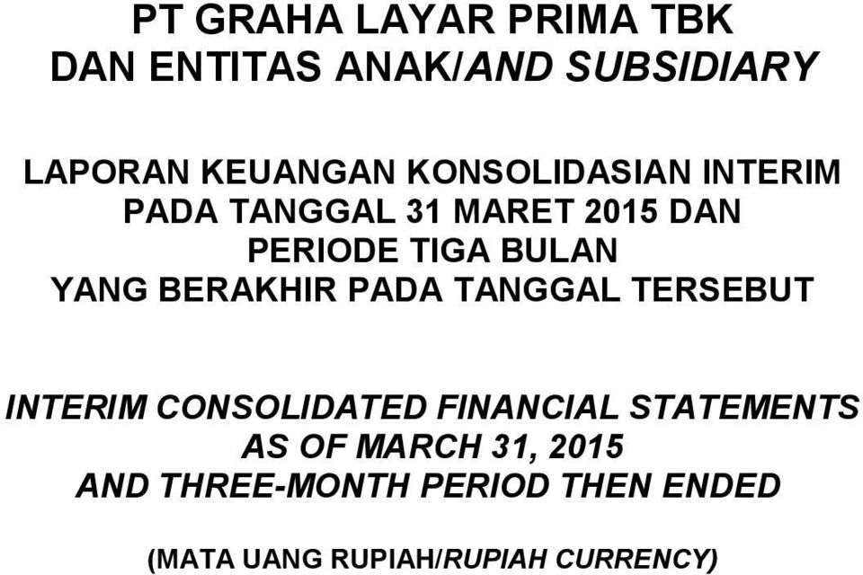 TERSEBUT INTERIM CONSOLIDATED AS OF MARCH 31, 2015