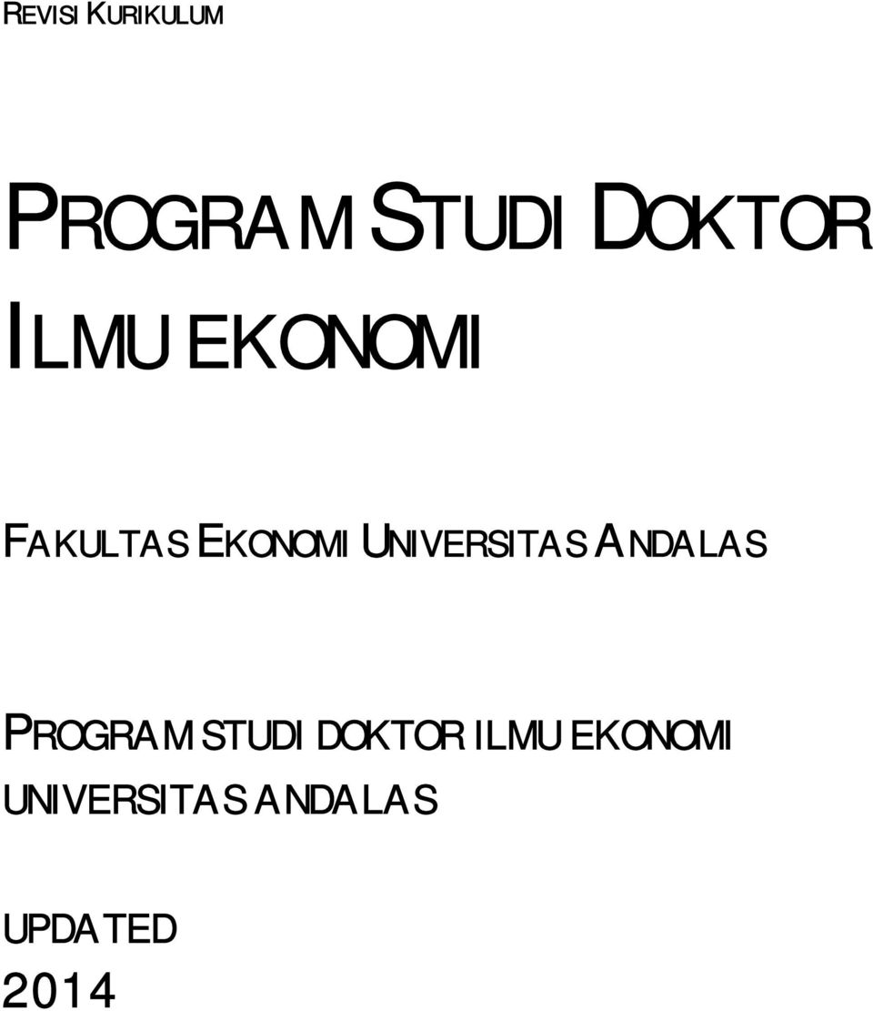 UNIVERSITAS ANDALAS PROGRAM STUDI