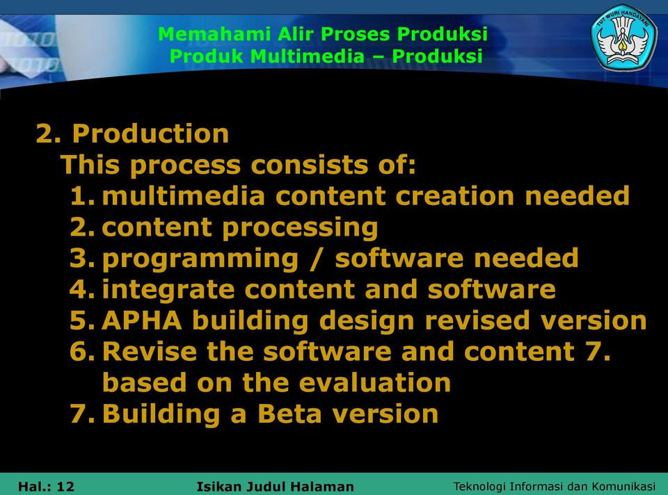 programming / software needed 4. integrate content and software 5.