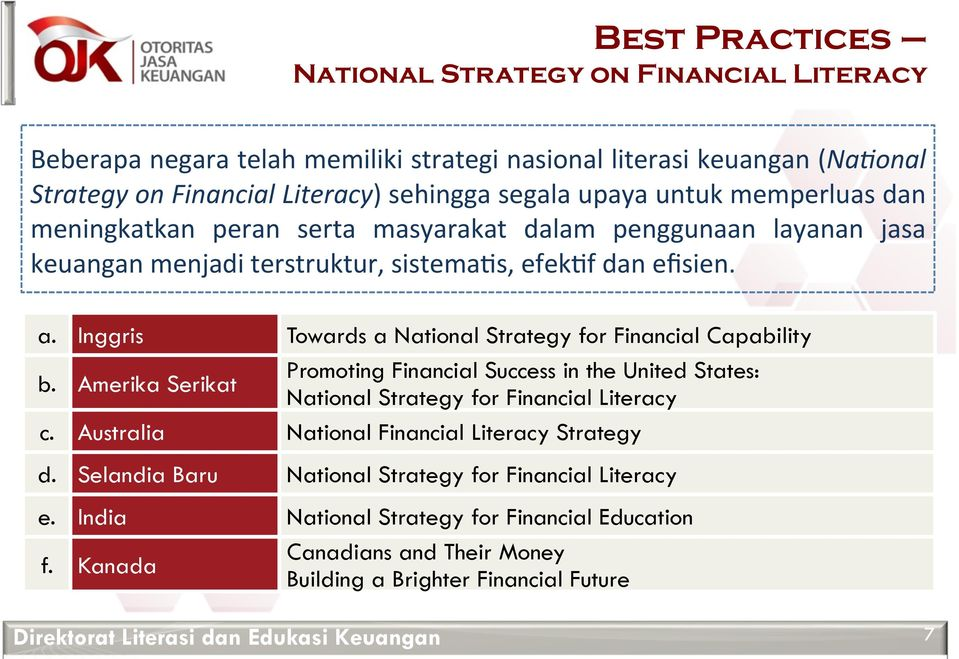 Inggris Towards a National Strategy for Financial Capability b. Amerika Serikat Promoting Financial Success in the United States: National Strategy for Financial Literacy c.
