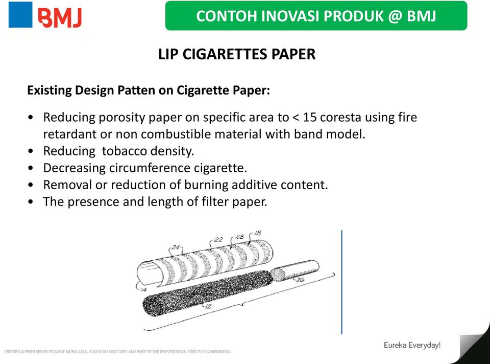 combustible material with band model. Reducing tobacco density.