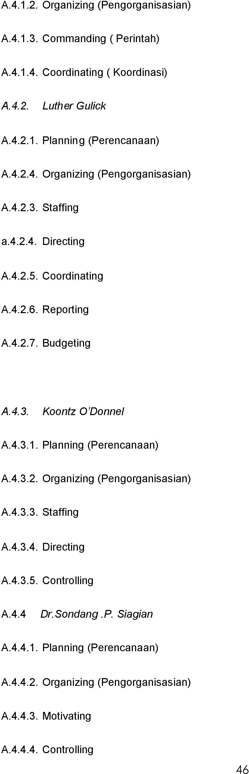4.3.1. Planning (Perencanaan) A.4.3.2. Organizing (Pengorganisasian) A.4.3.3. Staffing A.4.3.4. Directing A.4.3.5. Controlling A.4.4 Dr.Sondang.P. Siagian A.