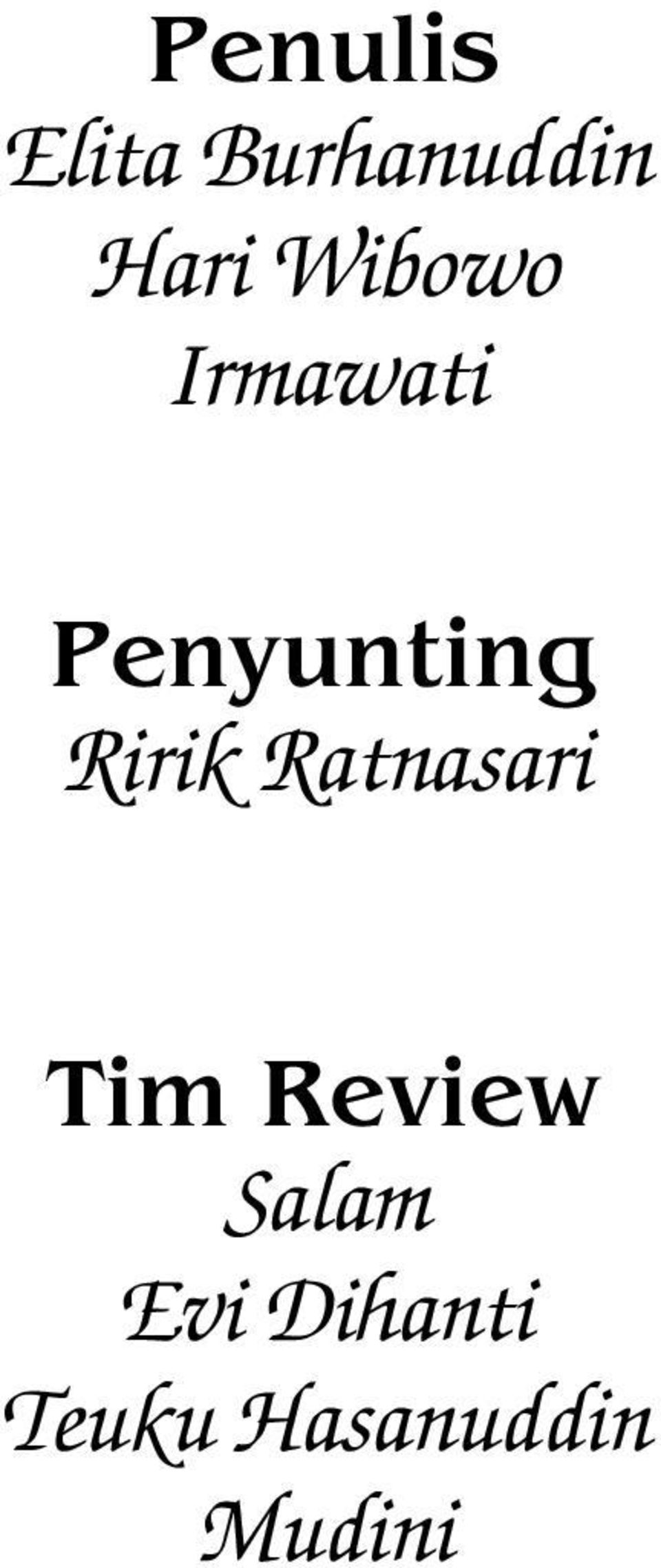 Ririk Ratnasari Tim Review