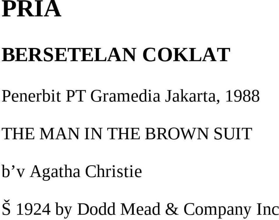 THE BROWN SUIT b v Agatha Christie
