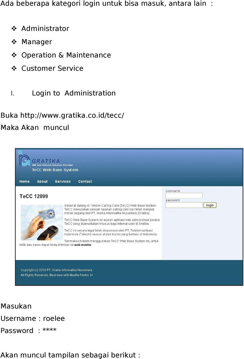 Login to Administration Buka http://www.gratika.co.