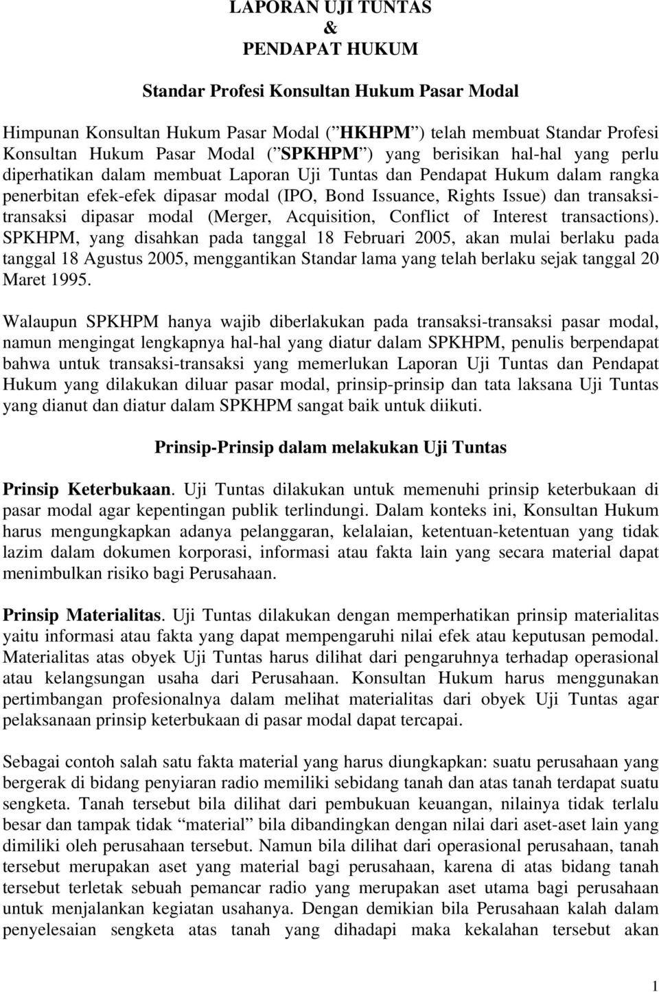 transaksitransaksi dipasar modal (Merger, Acquisition, Conflict of Interest transactions).