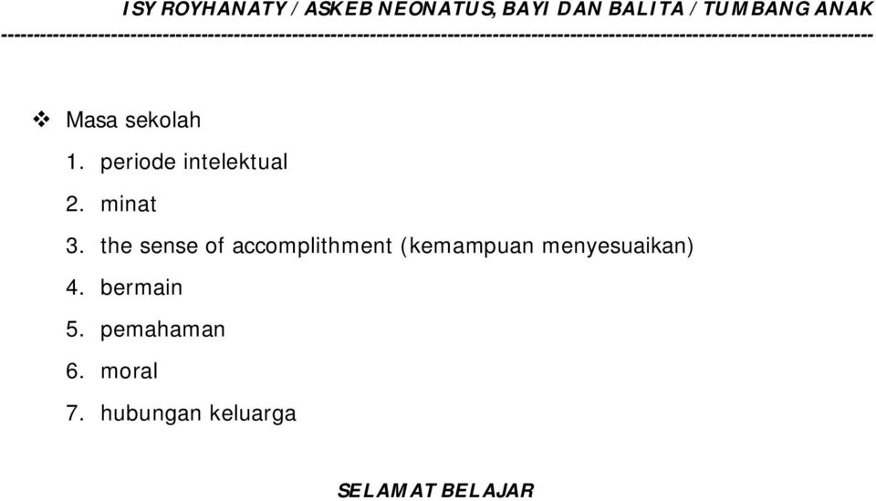 the sense of accomplithment (kemampuan