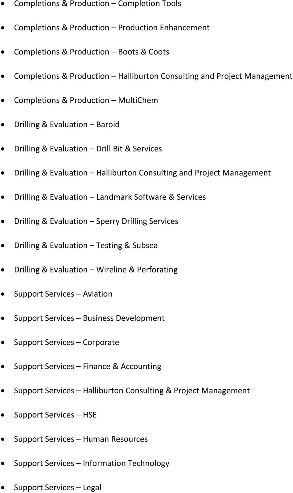Landmark Software & Services Drilling & Evaluation Sperry Drilling Services Drilling & Evaluation Testing & Subsea Drilling & Evaluation Wireline & Perforating Support Services Aviation Support