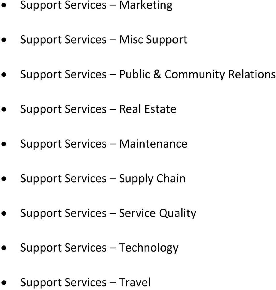 Support Services Maintenance Support Services Supply Chain Support