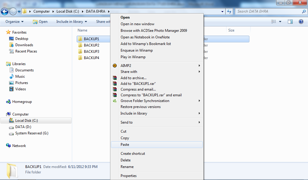 Copy File EHRA.rec dari petugas entry D ke dalam folder BACKUP4 Dst.. 4.