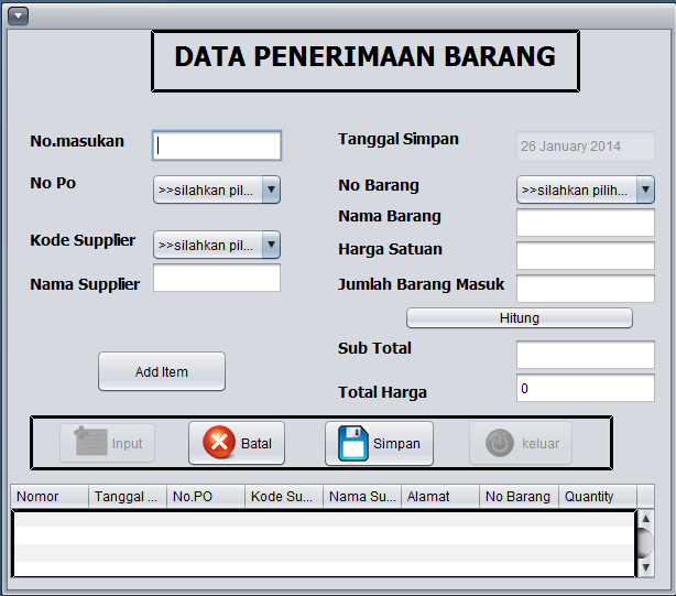 Gambar 14. Tampilan Form Data Supplier d.