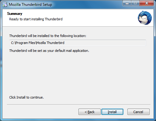 5. Pilih Standard dan centang Use Thunderbird as my default mail application.