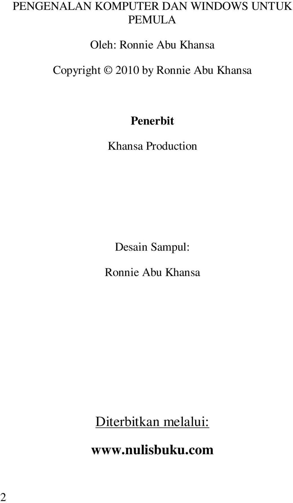 Khansa Penerbit Khansa Production Desain Sampul: