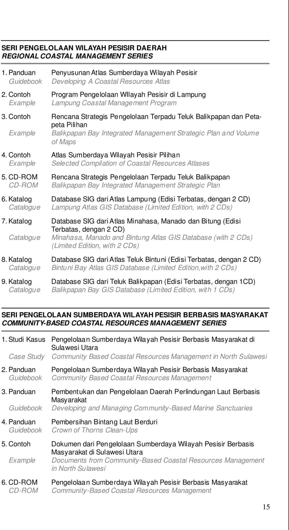 Contoh Rencana Strategis Pengelolaan Terpadu Teluk Balikpapan dan Petapeta Pilihan Example Balikpapan Bay Integrated Management Strategic Plan and Volume of Maps 4.
