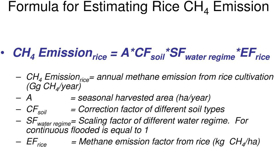 (ha/year) CF soil = Correction factor of different soil types SF water regime= Scaling factor of different