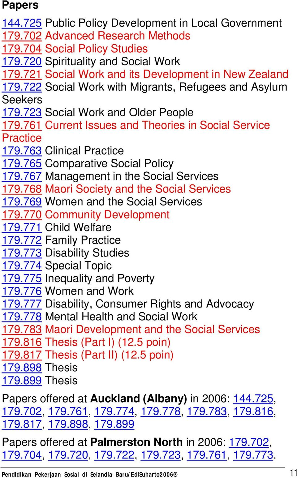 761 Current Issues and Theories in Social Service Practice 179.763 Clinical Practice 179.765 Comparative Social Policy 179.767 Management in the Social Services 179.