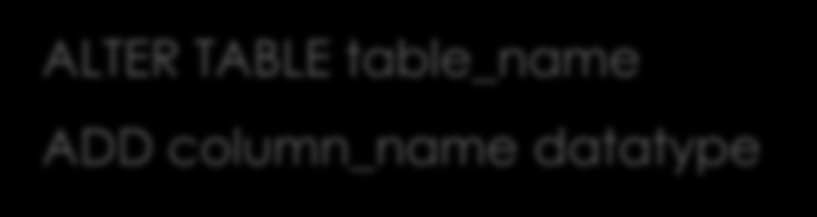ALTER TABLE - ADD ALTER TABLE table_name ADD column_name