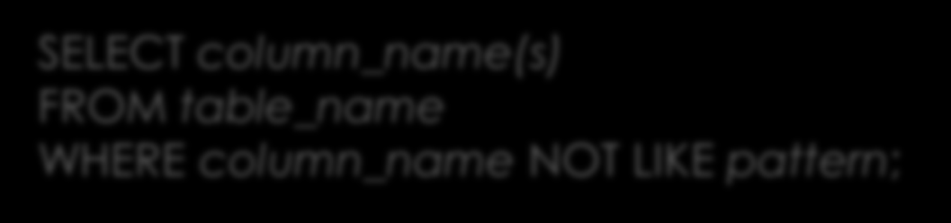 NOT LIKE SELECT column_name(s) FROM table_name WHERE column_name