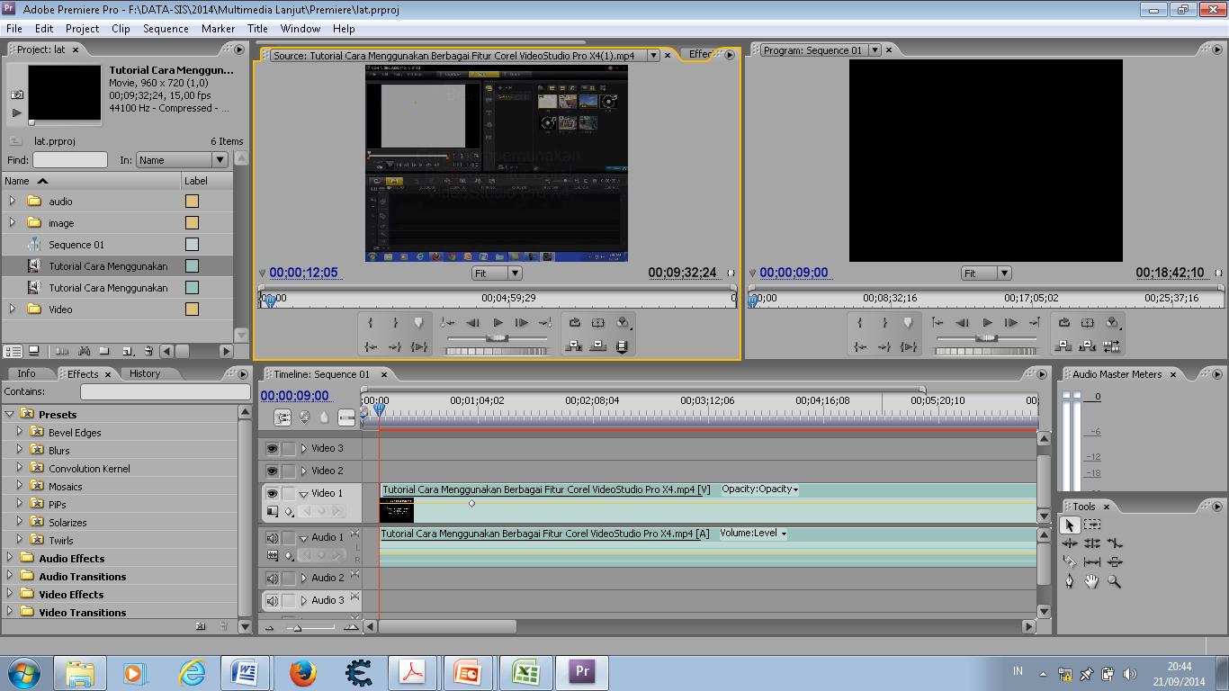 Tampilan Adobe Premiere Panel Project Source Monitor Program