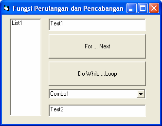 Oleh : Uus Rusmawan Hal - 2 Program Pertama List1.Clear For i = 1 To 5 List1.AddItem i Next i Private Sub Command2_Click() Combo1.Clear Dim a As Byte Do While a < 5 a = a + 1 Combo1.