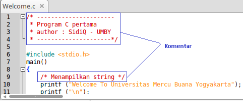 2.11 Analisis Program C Contoh program sederhana yang menggunakan bahasa C : /* ---------------------- * Program C pertama * author : SidiQ - UMBY * ---------------------*/ #include <stdio.